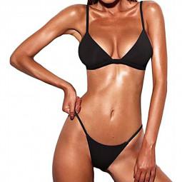 High Waited Bikini Sets Triangle Top Thong Bottom 2 Piece Swimsuit for Women S - Black
