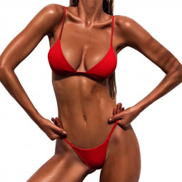 High Waited Bikini Sets Triangle Top Thong Bottom 2 Piece Swimsuit for Women L - Red