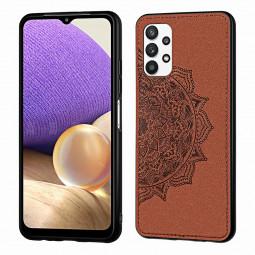 Mandala Embossed Cloth Pattern TPU + PC Case for Samsung Galaxy A32 5G - Brown