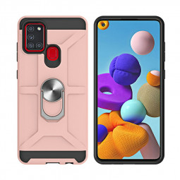 Armor Heavy Duty Dual Layer Ring Shockproof Hard Case for Samsung Galaxy A21s / A217F - Rose Gold