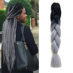 24 inch Ombre Kanekalon Jumbo Braid Synthetic Braiding Hair Extensions - Black + Silver + Grey