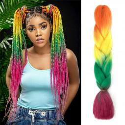 24 inch Ombre Kanekalon Jumbo Braid Synthetic Braiding Hair Extensions - Orange + Yellow + Green + Purple