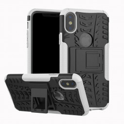Heavy Duty Shockproof Cover Case with Kickstand for iPhone X - White