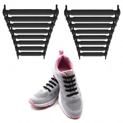 16 pcs Elastic Silicone No Tie Shoelace Shoe Laces for Trainers and Smart Wear - Black