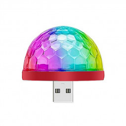 LED Mini USB Magic Ball Sound Activated Multi Color for Party Birthday Xmas Wedding Show - Red