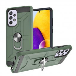 Dual Layer Ring Shockproof Armor Hard Case for Samsung Galaxy A72 5G 4G - Green