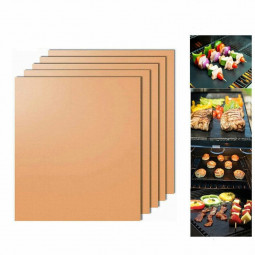 1 pcs Teflon Non Stick Oven Liner Heavy Duty BBQ Grill Mat for Fan Assisted Ovens 330x400x0.2mm - Copper