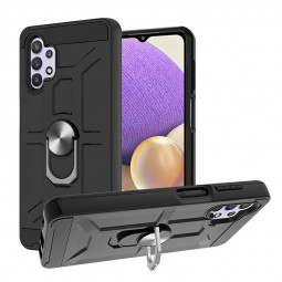 Dual Layer Ring Shockproof Armor Hard Case for Samsung Galaxy A32 5G - Black