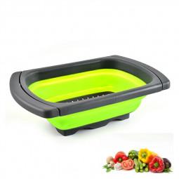 Collapsible Colander Fruit Vegetable Washing Basket Folding Drain Basket Kitchen - Green