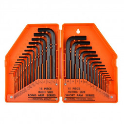 30 pcs Hexagon Key Set Metric AF Allen Wrench Combination Hex Tool - Orange