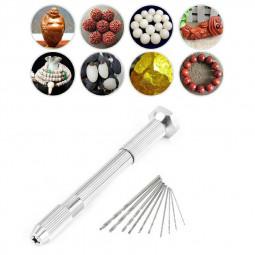 Mini Micro Hand Drill Chuck and 10 pcs Twist Drill Bit Jewelry Craft DIY Tool