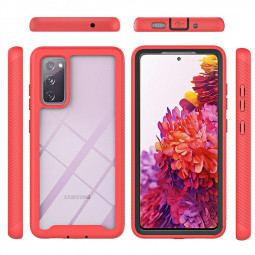360 Full Body Slim Armor Case with Front Frame for Samsung Galaxy S20 FE 4G/5G/S20 Fan Edition/S20 Lite - Red