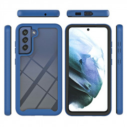 360 Full Body Slim Armor Case with Front Frame for Samsung Galaxy S21 FE - Blue