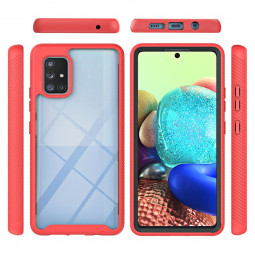 360 Full Body Slim Armor Case with Front Frame for Samsung Galaxy A71 5G - Red