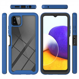 360 Full Body Slim Armor Case with Front Frame for Samsung Galaxy A22 5G - Blue