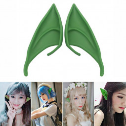 1 Pair Elf Ears Rubber Latex Prosthetic Tips Angel Pixie Fairy Cosplay Party 12 cm - Green