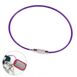 Stainless Steel Screw Locking Wire Keychain Cable Keyrings Key Holders - Purple