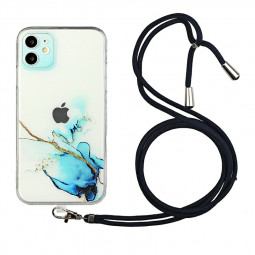 TPU Rubber Soft Skin Silicone Protective Case with Lanyard for iPhone 12 - Blue