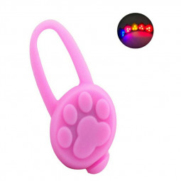 Waterproof Silicone Dog Cat Collar Lights Pet Tag Safety Night Lights - Pink