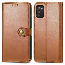 Magnetic PU Leather Wallet Card Case Flip Stand Cover for Samsung Galaxy A03S - Brown