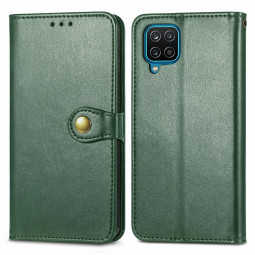 Magnetic PU Leather Wallet Card Case Flip Stand Cover for Samsung Galaxy A12 - Green