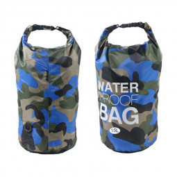 15L Camouflage Waterproof Dry Bag Pouch with Adjustable Strap for Beach Drifting Hiking Swimming - Royal Blue