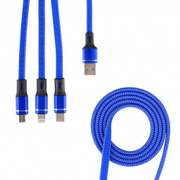 3 in 1 Portable Type C Micro USB 8 Pin USB Charging Cable - Blue