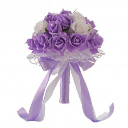 Wedding Bridal Hand Bouquet Crystal Silk Roses Simulation Plastic Flower - Purple