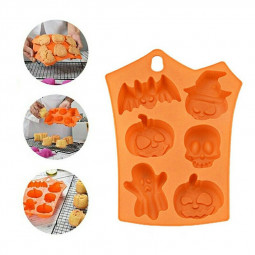 Halloween 6 Pumpkin Ghost Face Bat Skull Silicone Mould Cake Soap Candle Craft