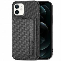 TPU and PC Back Case Fiber Pattern Card Cover for iPhone 12 Mini - Black