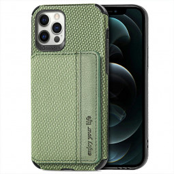 TPU and PC Back Case Fiber Pattern Card Cover for iPhone 12/12 Pro - Green