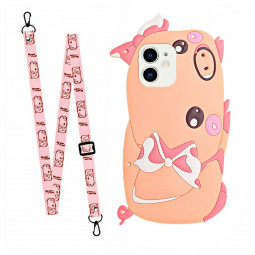 TPU Rubber Soft Skin Silicone Protective Case Cartoon Phone Case with Lanyard for iPhone 12 - Piggy