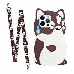 TPU Rubber Soft Skin Silicone Protective Case Cartoon Phone Case with Lanyard for iPhone 12 Pro - Cat