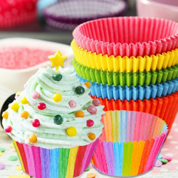 100 pcs Rainbow Cupcake Paper Cupcake Box Cake Cup Suitable for Wedding Party Birthday