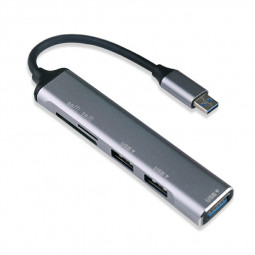 USB 3.0 3-Port Aluminum Hub with SD/TF Card Reader Combo for iMac MacBook Air - Gold