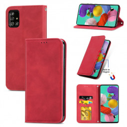 Magnetic PU Leather Wallet Card Case Cover for Samsung Galaxy A51 5G - Red