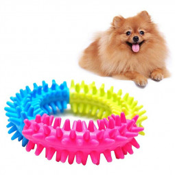Dog and Cat Biting Barbed Ring Soft Rubber Non-toxic Molar Cleaning Tooth Pet Toy