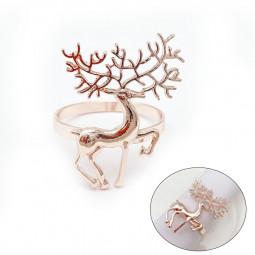 Christmas Alloy Napkin Ring Holder Household Napkin Buckle - Rose Gold