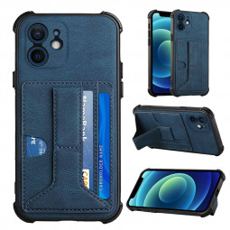Leather Stand Cover Shock Absorption Phone Case with Card Slot for iPhone 12 Mini - Blue