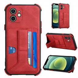 Leather Stand Cover Shock Absorption Phone Case with Card Slot for iPhone 12 - Red
