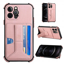 Leather Stand Cover Shock Absorption Phone Case with Card Slot for iPhone 12 Pro - Rose Gold