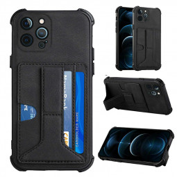 Leather Stand Cover Shock Absorption Phone Case with Card Slot for iPhone 12 Pro Max - Black
