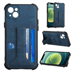 PU Leather Stand Cover Anti-drop Phone Case for iPhone 13 - Blue