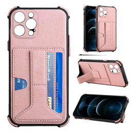 PU Leather Stand Cover Anti-drop Phone Case for iPhone 13 Pro Max - Rose Gold