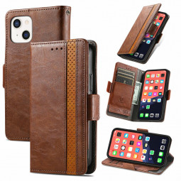 Smooth PU Leather Magnetic Wallet Card Case Cover for iPhone 13 - Brown