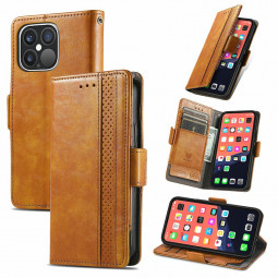Smooth PU Leather Magnetic Wallet Card Case Cover for iPhone 13 Pro Max - Khaki