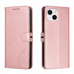 PU Leather Flip Stand Phone Cover Protective Case for iPhone 13 Mini - Rose Gold