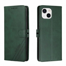 PU Leather Flip Stand Phone Cover Protective Case for iPhone 13 - Green