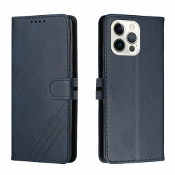 PU Leather Flip Stand Phone Cover Protective Case for iPhone 13 Pro - Blue