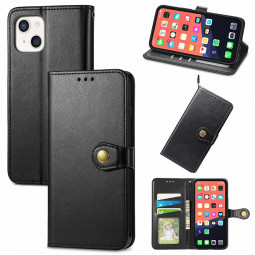 Solid Colour Folio PU Leather Case with Card Slot for iPhone 13 Mini - Black